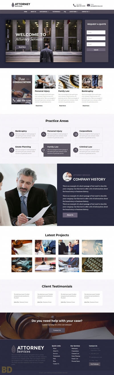 Attorney Services Divi Child Theme Long