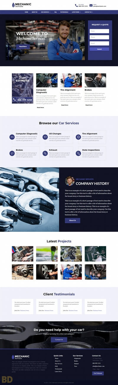 Mechanic Divi Child Theme Long