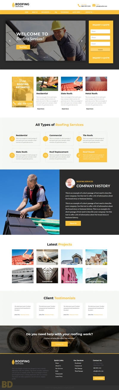 Roofing Divi Child Theme Long